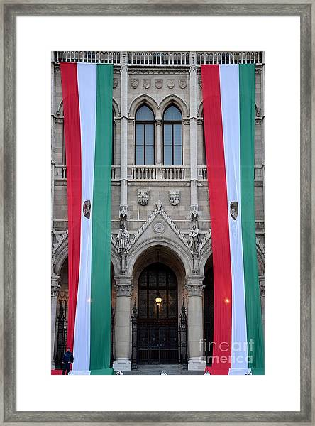 Hungary Flag Hanging At Parliament Budapest Framed Print