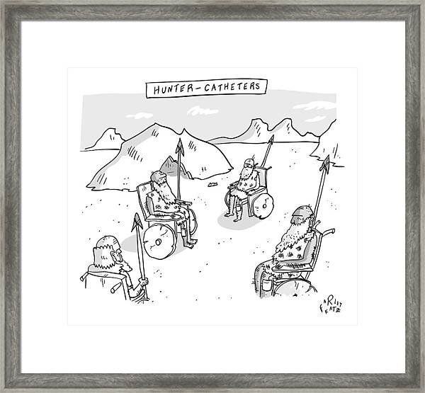 Hunter-catheters -- Stone-age Warriors Sit Framed Print