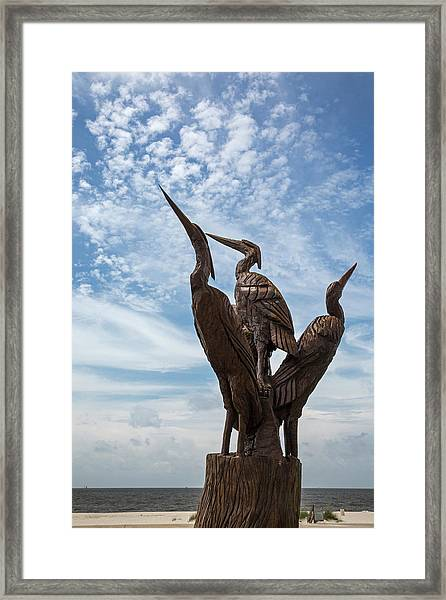 Hurricane Katrina Wood Carving Framed Print
