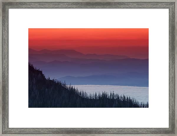 Hurricane Ridge Sunset Framed Print