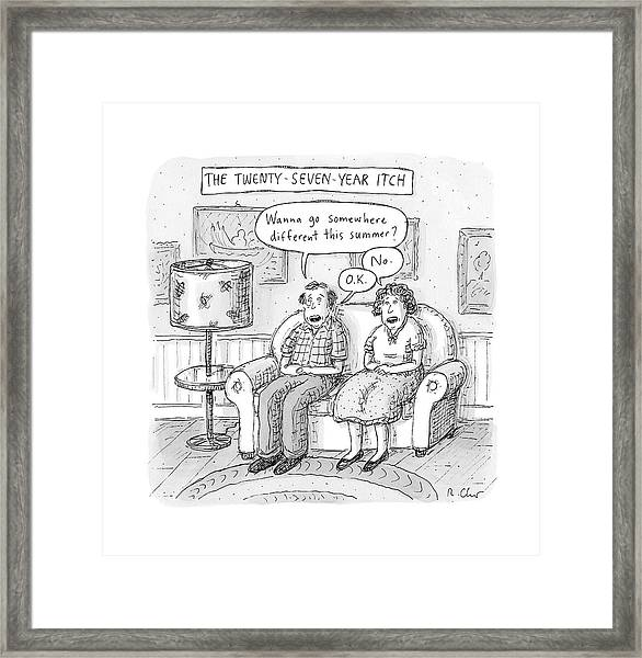 Husband And Wife Discuss Summer Plans On A Couch Framed Print