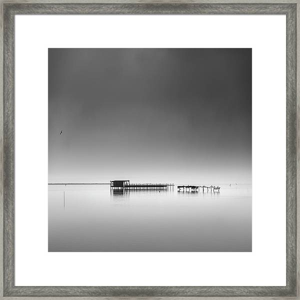 Hut In The Mist Framed Print by George Digalakis