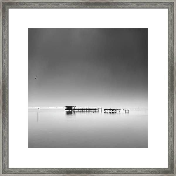 Hut In The Mist Framed Print