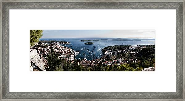 Hvar Harbor From The Fortress Framed Print