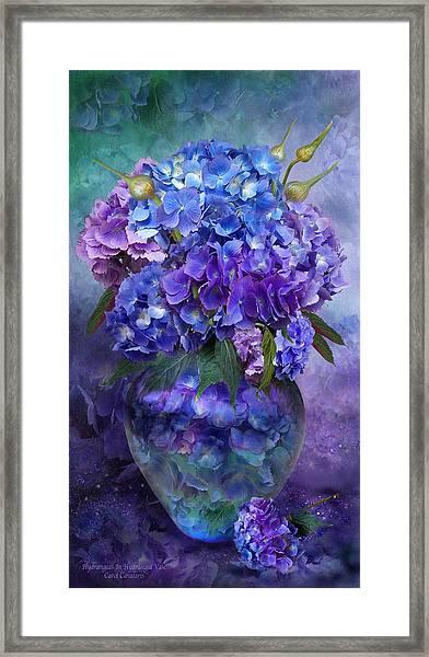 Hydrangeas In Hydrangea Vase Framed Print