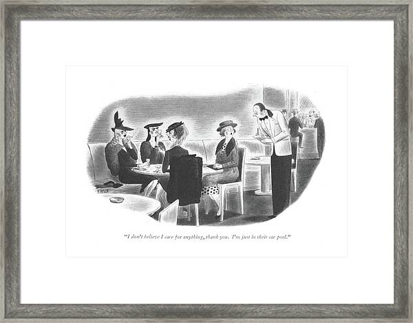 I Don't Believe I Care For Anything Framed Print