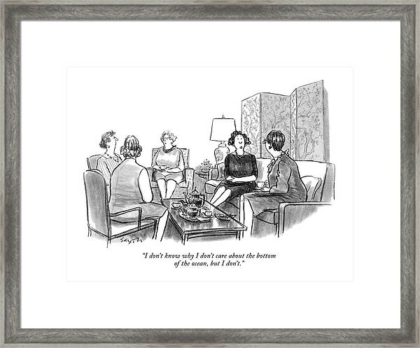I Don't Know Why I Don't Care About The Bottom Framed Print by Charles Saxon