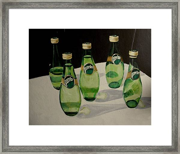 Perrier Bottled Water, Green Bottles, Conceptual Still Life Art Painting Print By Ai P. Nilson Framed Print