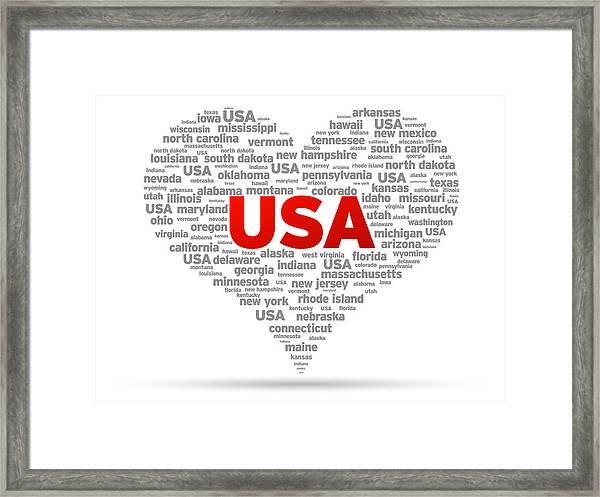 I Love Usa Framed Print
