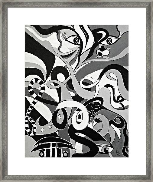 Black And White Acrylic Painting Original Abstract Artwork Eye Art  Framed Print