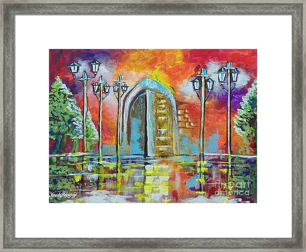 I Stand At The Door And Knock Framed Print by Nereida Rodriguez