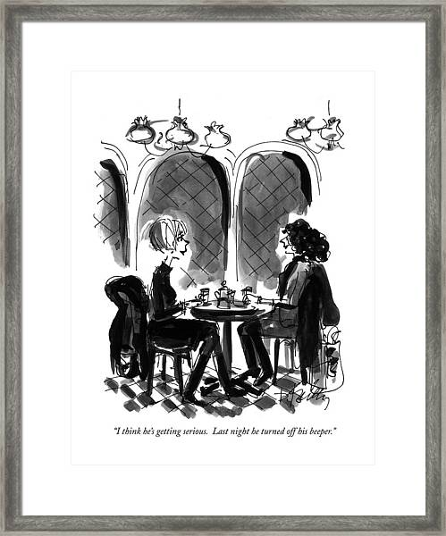 I Think He's Getting Serious.  Last Night Framed Print