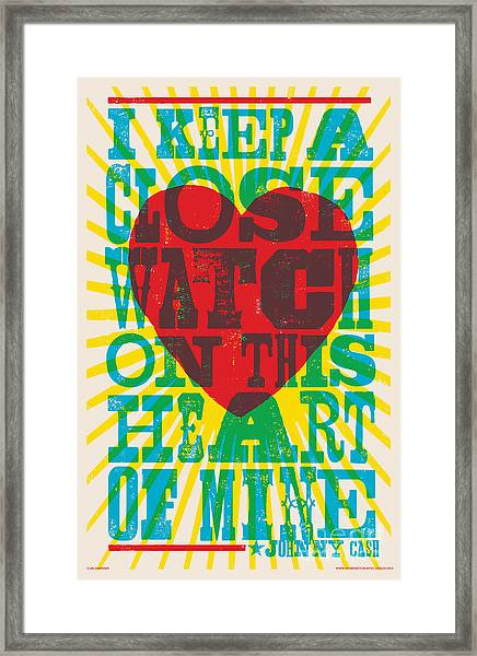 I Walk The Line - Johnny Cash Lyric Poster Framed Print