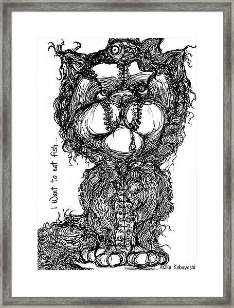 I Want To Eat Fish Framed Print by Akiko Okabe