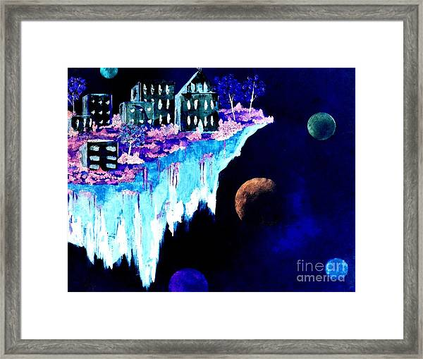 Ice City In Space Framed Print