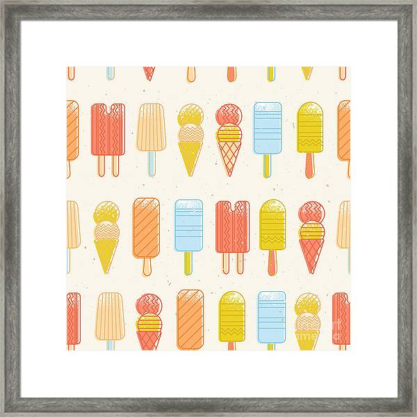 Ice Cream Background. Seamless Pattern Framed Print