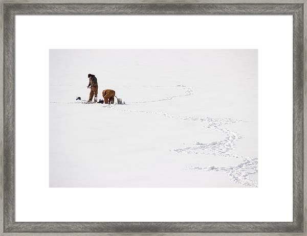 Ice Fishing In Iowa Framed Print