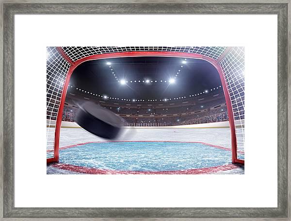 Ice Hockey Goal Framed Print by Dmytro Aksonov