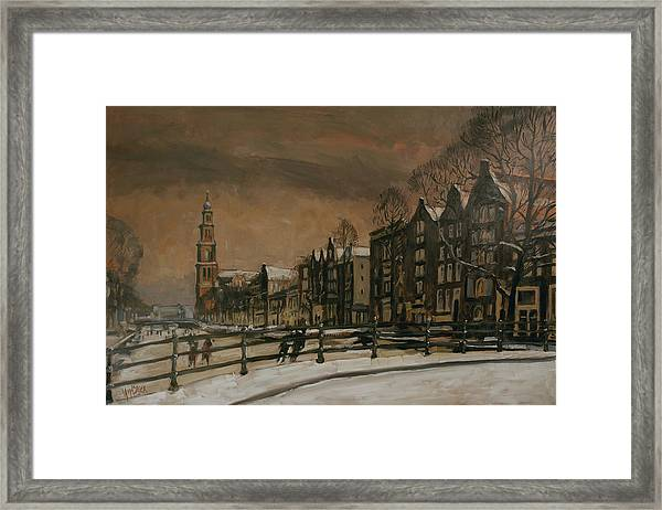 Ice Skating On The Prinsengracht Amsterdam Framed Print