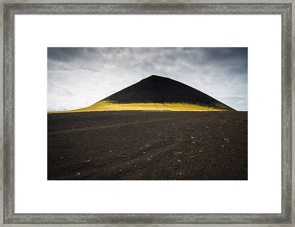 Iceland Minimalist Landscape Brown Black Yellow Framed Print