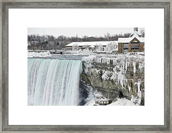 Icicles Over The Falls Framed Print