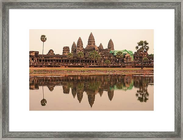 Iconic Angkor Wat Reflecting In Lake Framed Print