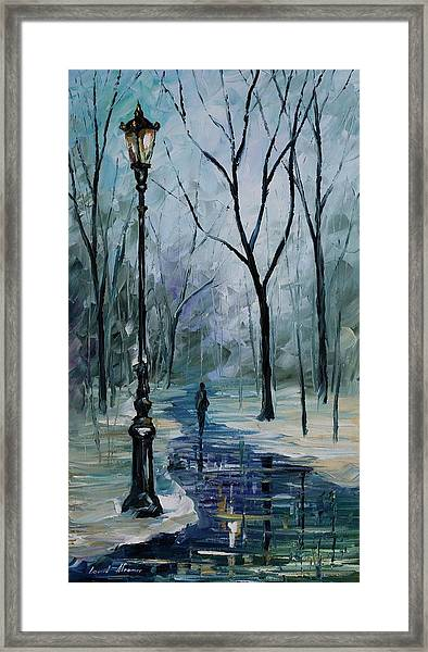 Icy Path - Palette Knife Oil Painting On Canvas By Leonid Afremov Framed Print