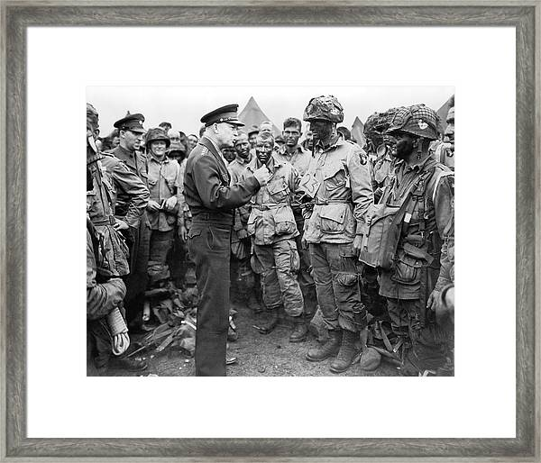 Ike With D-day Paratroopers Framed Print