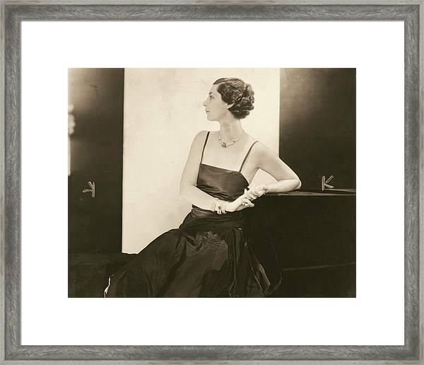 Ilka Chase In A Taffeta Dress Framed Print