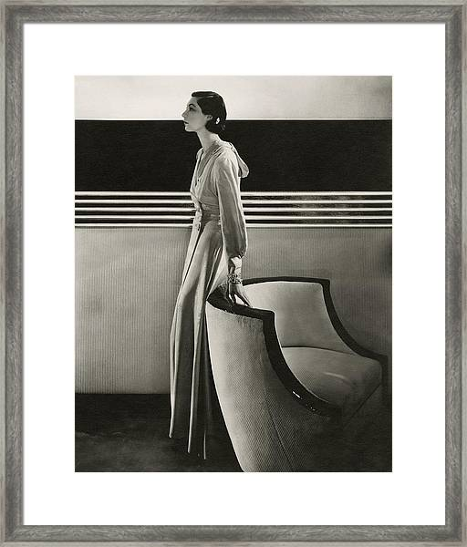 Ilka Chase Wearing Black Starr And Frost-gorham Framed Print
