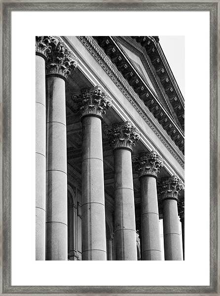 Illinois Capitol Columns B W Framed Print