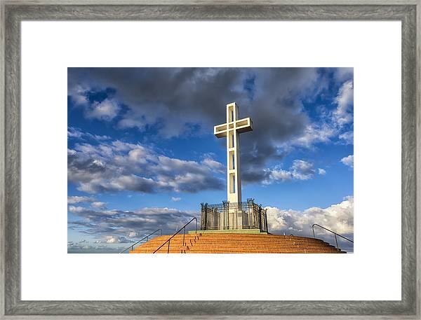 Illuminated Cross Framed Print