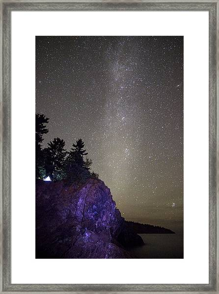 Illuminated Tent // North Shore, Lake Superior Framed Print