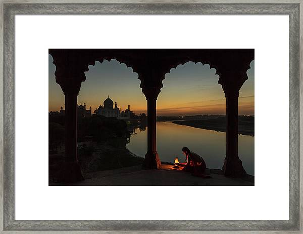 Illuminating The Taj Framed Print