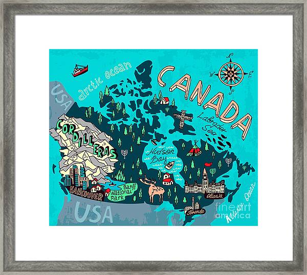 Illustrated Map Of Canada. Travel Framed Print by Daria i