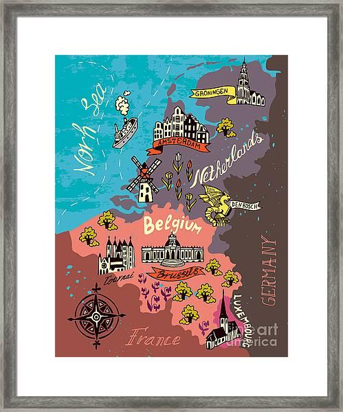 Illustrated Map Of The Netherlands Framed Print