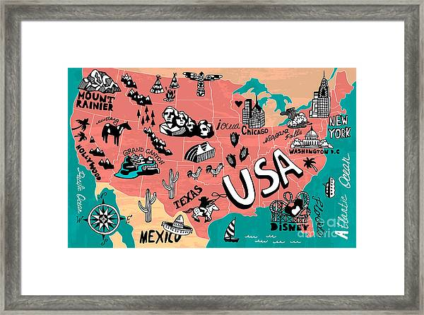 Illustrated Map Of Usa Framed Print by Daria i