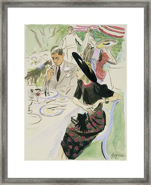 Illustration Of A Couple Dining Outdoors Framed Print