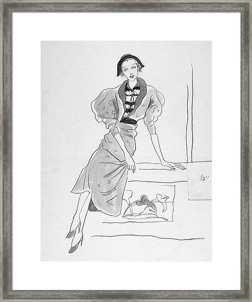 Illustration Of A Fashionable Woman Framed Print