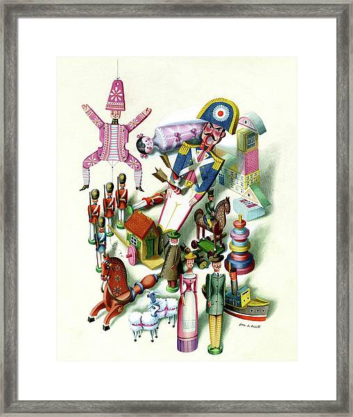 Illustration Of A Group Of Children's Toys Framed Print
