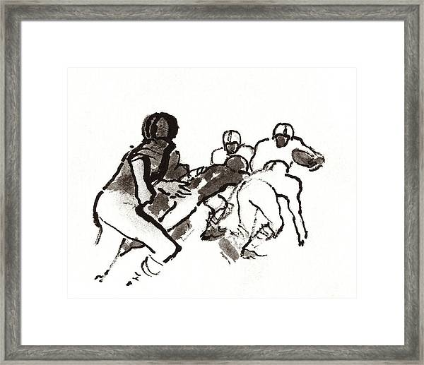 Illustration Of A Group Of Football Players Framed Print by Carl Oscar August Erickson