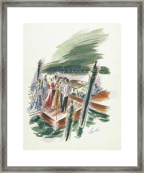 Illustration Of A Group Of People Partying Framed Print by Constantin Alajalov