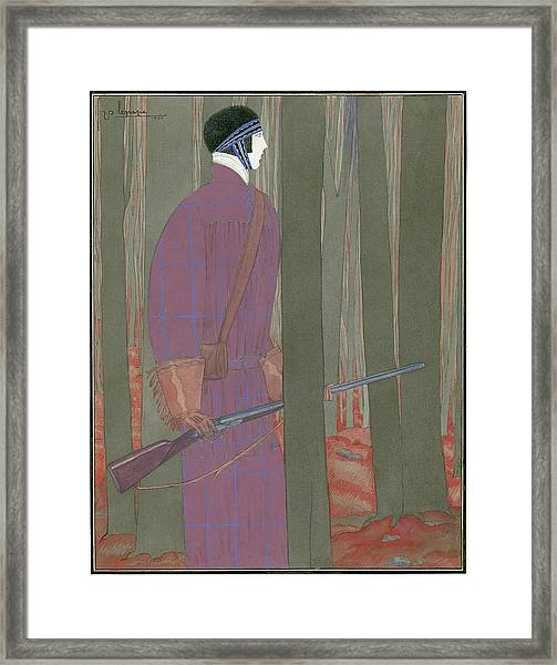 Illustration Of A Hunter In A Forest Framed Print by Georges Lepape