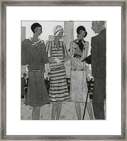 Illustration Of A Man And Three Fashionable Women Framed Print