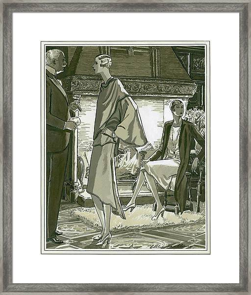 Illustration Of A Man And Two Women In A Country Framed Print by Leslie Saalburg