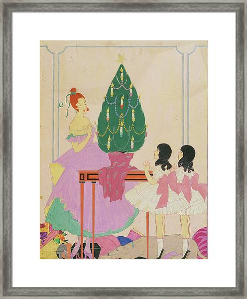 Illustration Of A Mother And Twin Girls Framed Print