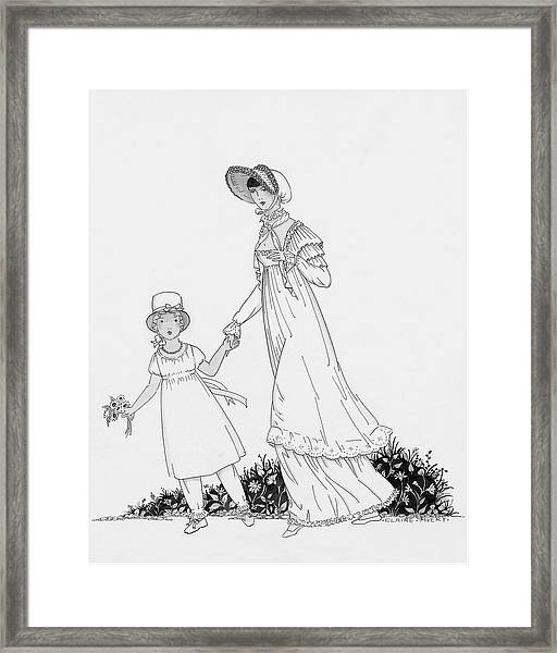 Illustration Of A Nineteenth Century Mother Framed Print by Claire Avery