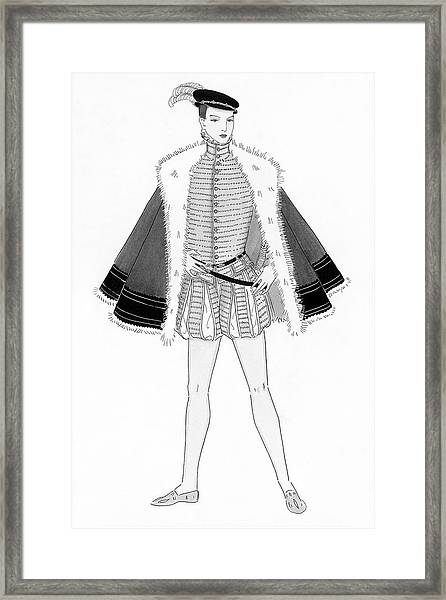 Illustration Of A Sixteenth Century Man Framed Print