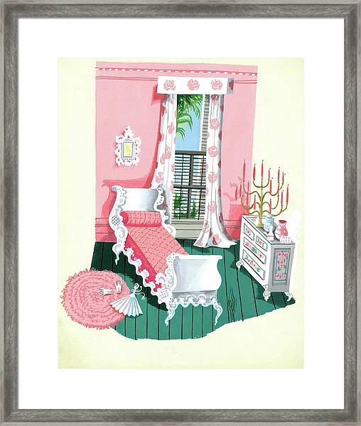 Illustration Of A Victorian Style Pink And Green Framed Print
