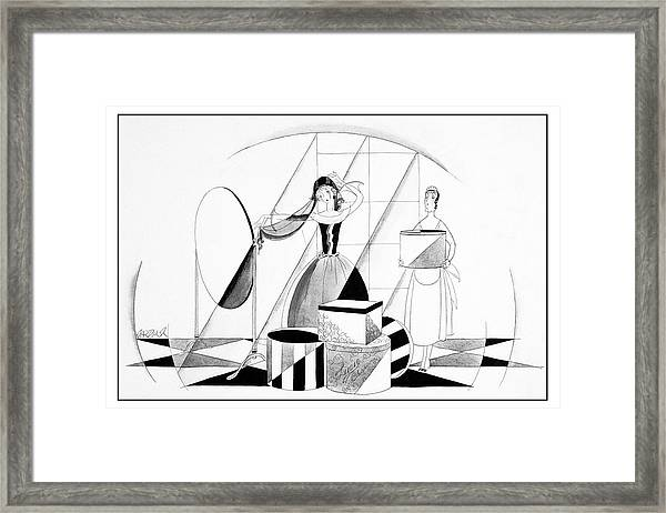 Illustration Of A Woman Getting Dressed Framed Print